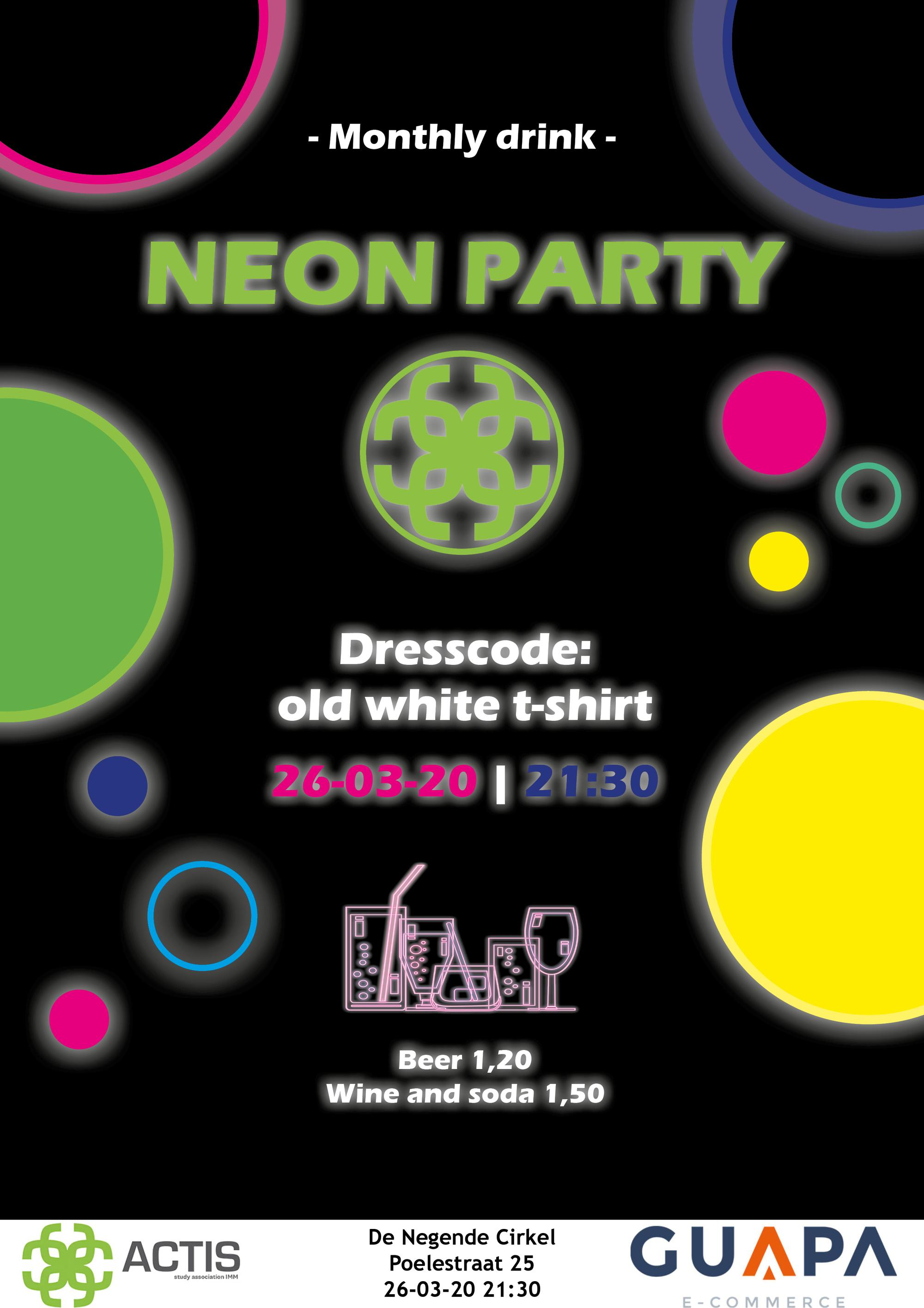 (Canceled) Monthly Drink: neon party