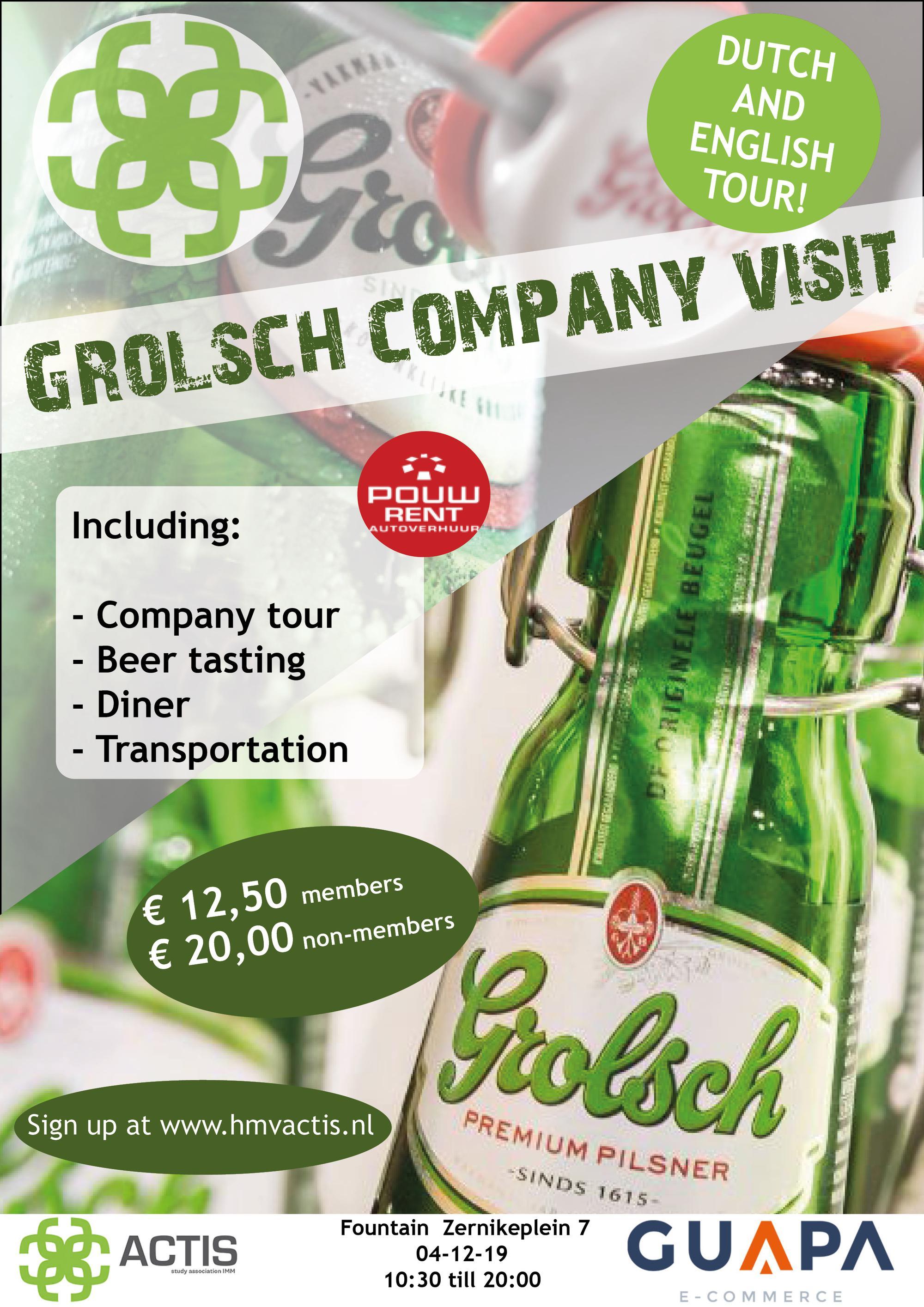 Bedrijfsbezoek Grolsch (Nederlandse tour)